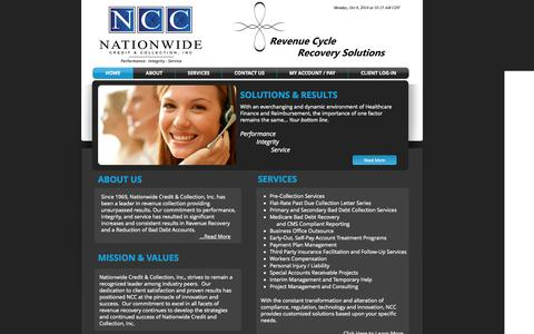 Screenshot of Home Page ncc.us - Nationwide Credit & Collection, Inc. - captured Oct. 6, 2014