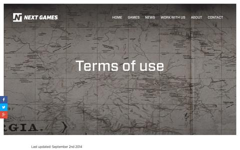 Screenshot of Terms Page nextgames.com - Next Games - captured Dec. 4, 2015