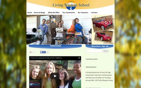 Screenshot of Testimonials Page livingwisdom.org - Testimonials - Living Wisdom School - captured March 8, 2016