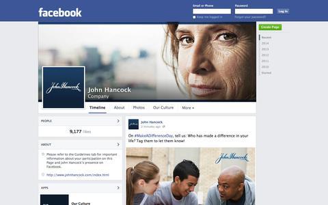 Screenshot of Facebook Page facebook.com - John Hancock - Boston, MA - Company | Facebook - captured Oct. 25, 2014
