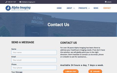 Screenshot of Contact Page alpha-imaging.com - Contact Us – Alpha Imaging - captured Jan. 15, 2020