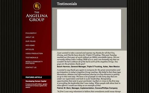 Screenshot of Testimonials Page angelinagroup.com - The Angelina Group - Testimonials - captured Sept. 30, 2014