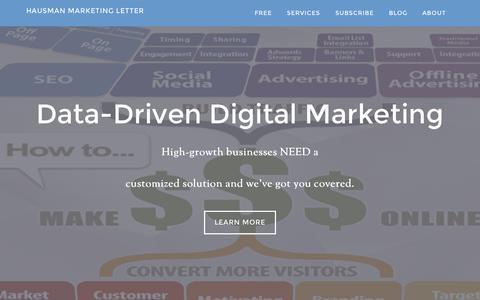 Screenshot of Home Page hausmanmarketingletter.com - Hausman Marketing Letter - the intersection of marketing and digital media - captured Sept. 19, 2015