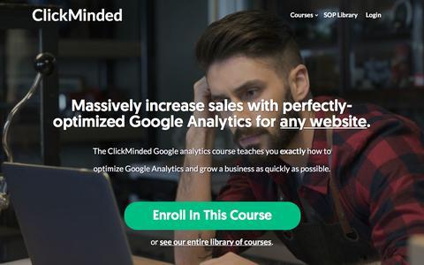 Screenshot of clickminded.com - Google Analytics Training For Startups - ClickMinded - captured Dec. 9, 2017