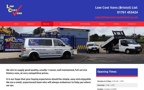Screenshot of About Page lowcostvansbristol.co.uk - About Us, Low Cost Vans (Bristol) Ltd - captured Dec. 13, 2015