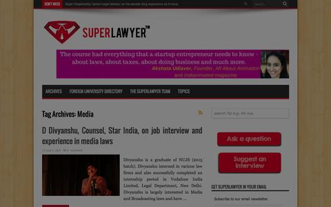 Screenshot of Press Page superlawyer.in - Media | SuperLawyer � share your career experience and professional insights with law students and lawyers - captured Jan. 12, 2016