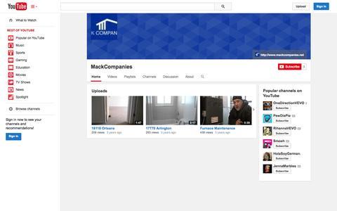 Screenshot of YouTube Page youtube.com - MackCompanies  - YouTube - captured Oct. 23, 2014