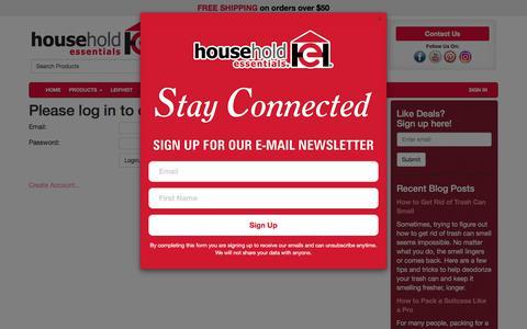 Screenshot of Login Page householdessential.com - Log In - captured July 20, 2019