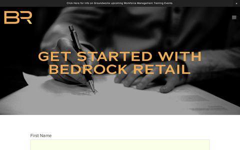 Screenshot of Contact Page bedrockretail.com - Get Started — Bedrock Retail - captured Aug. 1, 2018