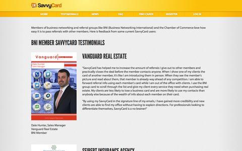 Screenshot of Testimonials Page savvycard.com - SavvyCard® - The business referral system where everyone works for you. - captured Sept. 17, 2014