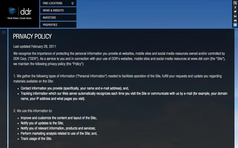 Screenshot of Privacy Page ddr.com - Privacy Policy | ddr.com - captured Sept. 23, 2014