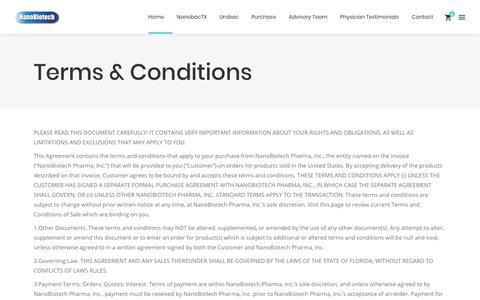 Screenshot of Terms Page nanobiotechpharma.com - Terms & Conditions - NanoBiotech Pharma - Urobac - NanobacTX - Nanobiotics - captured Nov. 2, 2017