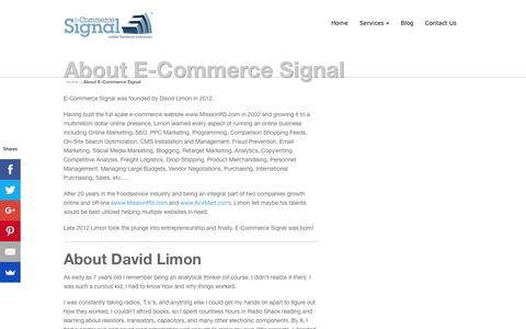Screenshot of About Page ecommercesignal.com - About E-Commerce Signal | E-Commerce Signal - captured July 8, 2016
