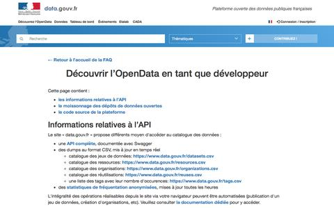 Screenshot of Developers Page data.gouv.fr - Découvrir l'OpenData en tant que développeur - FAQ - Data.gouv.fr - captured Nov. 11, 2016