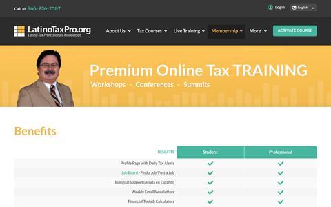 Screenshot of Signup Page latinotaxpro.org - Benefits - Latino Tax Professionals - captured Oct. 26, 2016