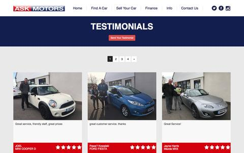 Screenshot of Testimonials Page askmotors.co.uk - Used Car Testimonials | Ask Motors - captured May 28, 2017
