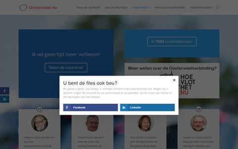 Screenshot of Home Page oosterweel.nu - Oosterweel.nu - Ik ben de files beu! U ook? - captured Sept. 4, 2015