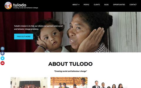 Screenshot of Home Page tulodo.com - Tulodo – Creating social and behavior change - captured July 21, 2018