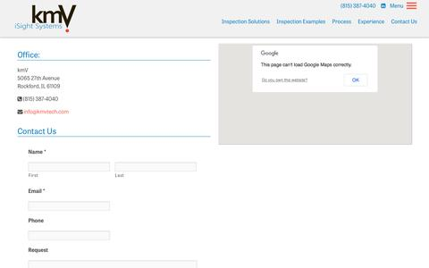 Screenshot of Contact Page kmvtech.com - Contact Us - iSight Container Inspection System by kmV : iSight Container Inspection System by kmV - captured Aug. 20, 2019