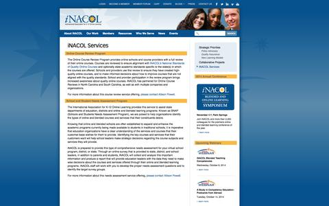 Screenshot of Services Page inacol.org - iNACOL     iNACOL Services - captured Oct. 6, 2014