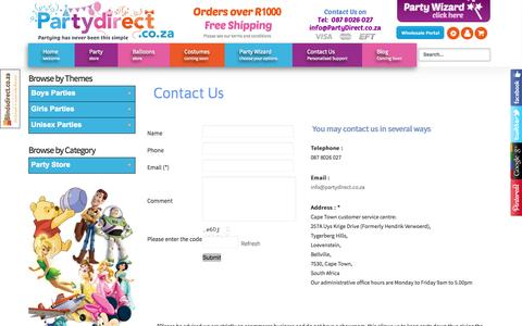 Screenshot of Contact Page partydirect.co.za - Contact Us - captured Oct. 2, 2014