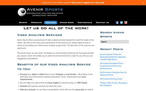 Screenshot of Services Page avenirsports.ie - Services - captured Dec. 18, 2018