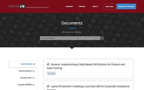 Screenshot of Case Studies Page inquisiq.com - Documents | Inquisiq LMS - captured Sept. 23, 2016