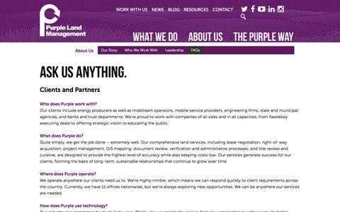 Screenshot of FAQ Page purplelandmgmt.com - FAQs - Purple Land Management - captured Dec. 8, 2015