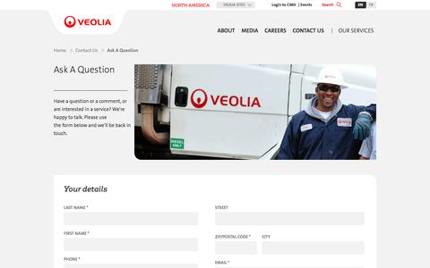 Screenshot of Services Page veolianorthamerica.com - Ask A Question | Veolia North America - captured June 22, 2017