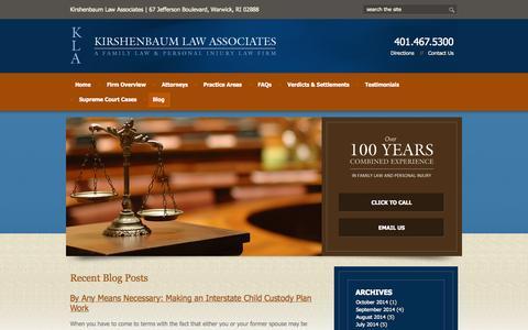 Screenshot of Blog kirshenbaumlaw.com - Blog | Rhode Island Divorce Attorneys | Kirshenbaum Law Associates - captured Oct. 6, 2014