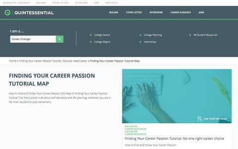 Screenshot of Maps & Directions Page livecareer.com - Finding Your Career Passion Tutorial Map | Quintessential LiveCareer - captured Sept. 23, 2016