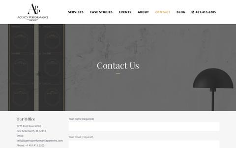 Screenshot of Contact Page agencyperformancepartners.com - Contact Us   Agency Performance Partners - captured July 25, 2016