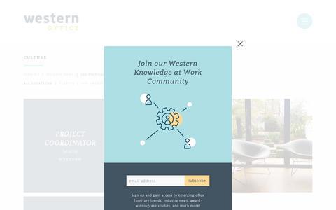Screenshot of Jobs Page westernoffice.com - Western Office | Project Coordinator - captured Nov. 19, 2018