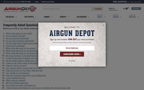 Screenshot of FAQ Page airgundepot.com - Frequently Asked Questions |  AirgunDepot.com - captured Oct. 25, 2015