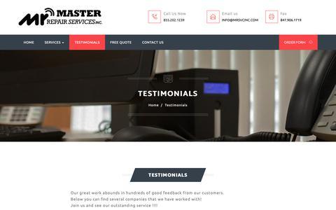 Screenshot of Testimonials Page mrsvcinc.com - Master Repair Services - Testimonials - captured Nov. 2, 2018
