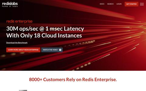 Screenshot of Home Page redislabs.com - Redis Labs | The Fastest Database With Least Latency - captured Feb. 8, 2018