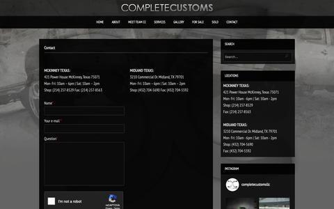 Screenshot of Contact Page completecustoms.net - Contact   Complete Customs - captured Dec. 8, 2018