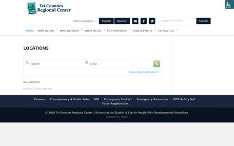 Screenshot of Locations Page tri-counties.org - Locations - Tri Counties Regional Center - captured Oct. 20, 2018