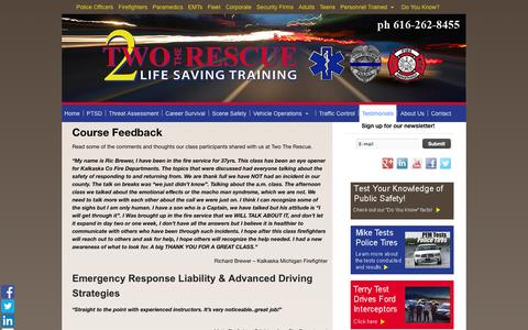 Screenshot of Testimonials Page twotherescue.com - Read What Class Participants Are Saying About | Two The Rescue | Grand Rapids MI - captured Oct. 27, 2014