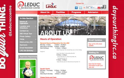 Screenshot of Hours Page leduc.ca - Hours of Operation - captured Oct. 2, 2014
