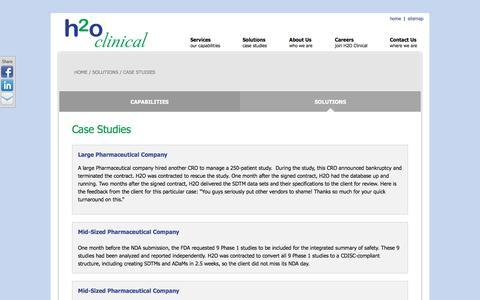 Screenshot of Case Studies Page h2oclinical.com - Data Managment | Statistical Programming | Biostatistics | Case Studies | H2O Clinical - captured May 12, 2017