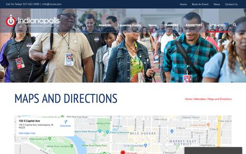 Screenshot of Maps & Directions Page icclos.com - Directions - Getting to the Indiana Convention Center - captured Oct. 19, 2019