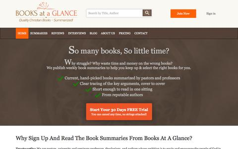 Screenshot of Home Page booksataglance.com - Books At a Glance - captured Sept. 19, 2014