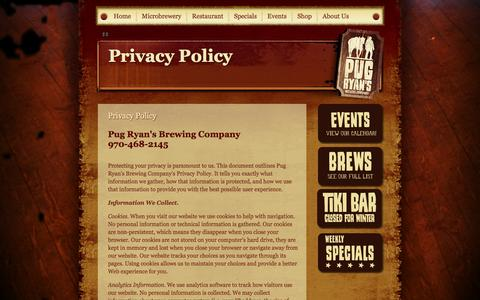 Screenshot of Privacy Page pugryans.com - Pug Ryan's Steakhouse & Brewery :: Privacy Policy - captured Oct. 3, 2014