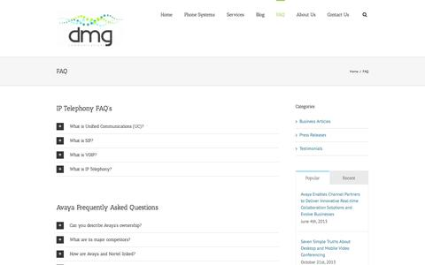 Screenshot of FAQ Page dmgcommunications.com.au - DMG Communications – AVAYA – Telstra Business Partner   –  FAQ - captured Sept. 30, 2014