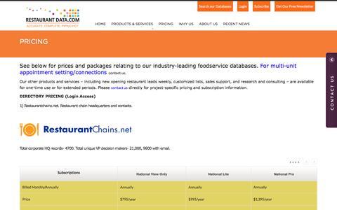 Screenshot of Pricing Page restaurantdata.com - Pricing - Restaurant Data - captured April 2, 2017