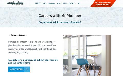 Screenshot of Jobs Page mrplumber.ca - Careers - Mr Plumber - captured Oct. 18, 2018
