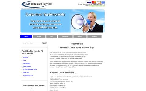 Screenshot of Testimonials Page cmsbankcard.com - CMS Bankcard Services Testimonials - captured Oct. 1, 2014