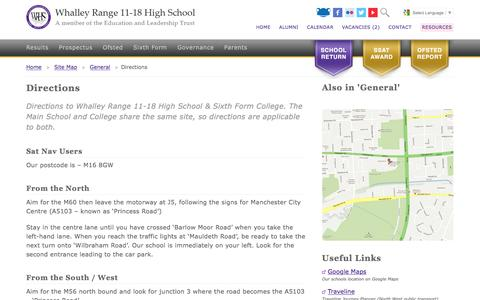 Screenshot of Maps & Directions Page wrhs1118.co.uk - Directions - Whalley Range 11-18 High School - captured May 30, 2016