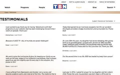 Screenshot of Testimonials Page tbn.org - Testimonials | TBN - captured July 21, 2017